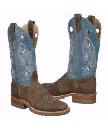 Double H Sea Blue   Tan Crazy Horse Square Toe Ice Roper Cowgirl Boots e5fa19c8c5a7