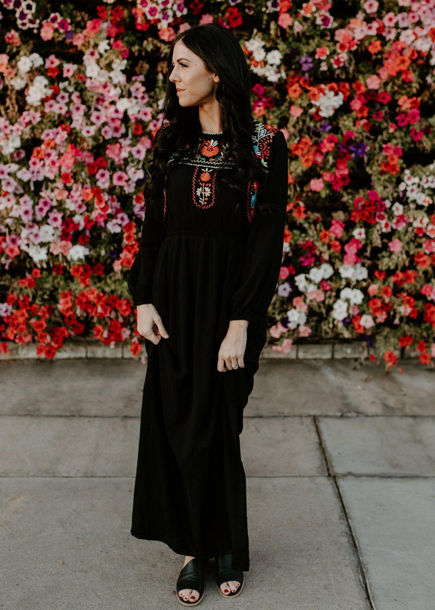 Embroidered smocked maxi dress black smocked maxi