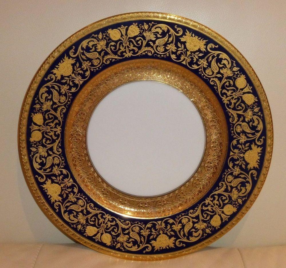 ANTIQUE 1901 COBALT BLUE \u0026 GOLD HUTSCHENREUTHER HOHENBERG BAVARIA DINNER PLATE & Antique 1901 cobalt blue \u0026 gold hutschenreuther hohenberg bavaria ...