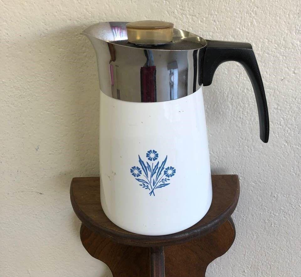 Vintage Corning Ware P 146 6 C Coffee Pot Percolator Blue Cornflower Stove Top Corningware