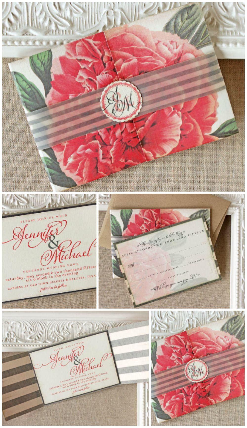Vintage Peony Petite Folder Invitation | Ravioli, Peony and Sunshine
