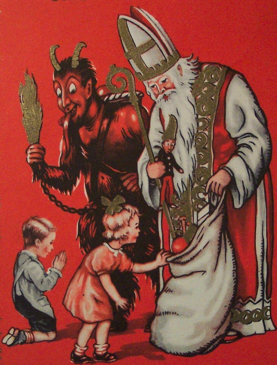 Krampus Santa Claus In 2020 Krampus Card Krampus Creepy Christmas