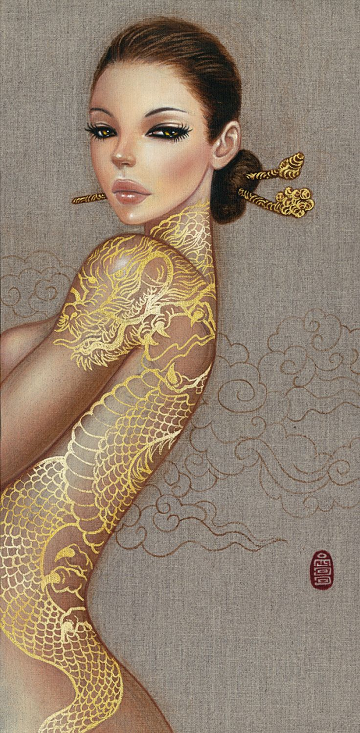 """Why is the Moon So Sad"" - Mimi Yoon, acrylic and liquid gold leaf on linen {figurative art beautiful female tattoo woman profile painting} mimiyoon.viewbook.com"