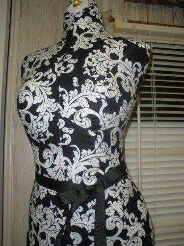 Black And White Damask Home Decorative Dress Form W Stand Craft