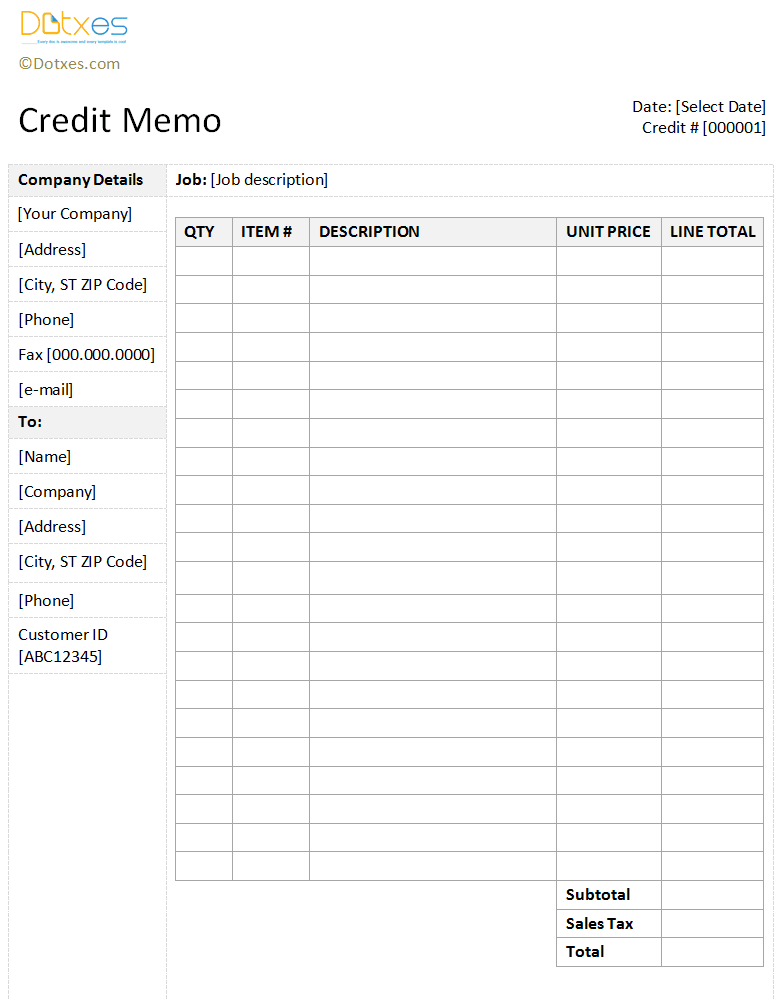 Credit Memo Template With A Sidebar Design  Memo Templates