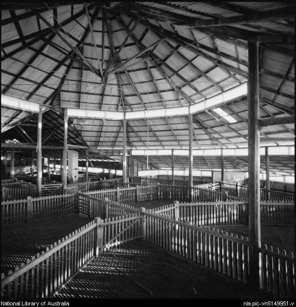 Wes Stacey- Interior of octagonal woolshed at Gostwyck, Uralla, New South Wales, ca. 1968