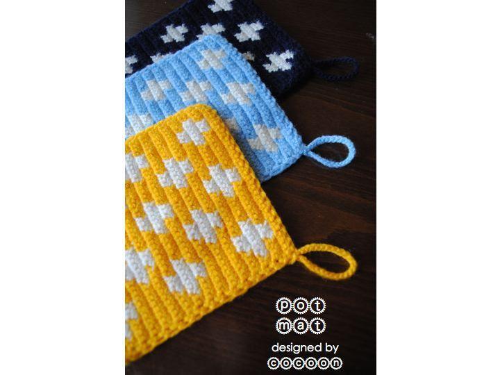 【かぎ針編み】かわいいポットホルダー編み図まと …