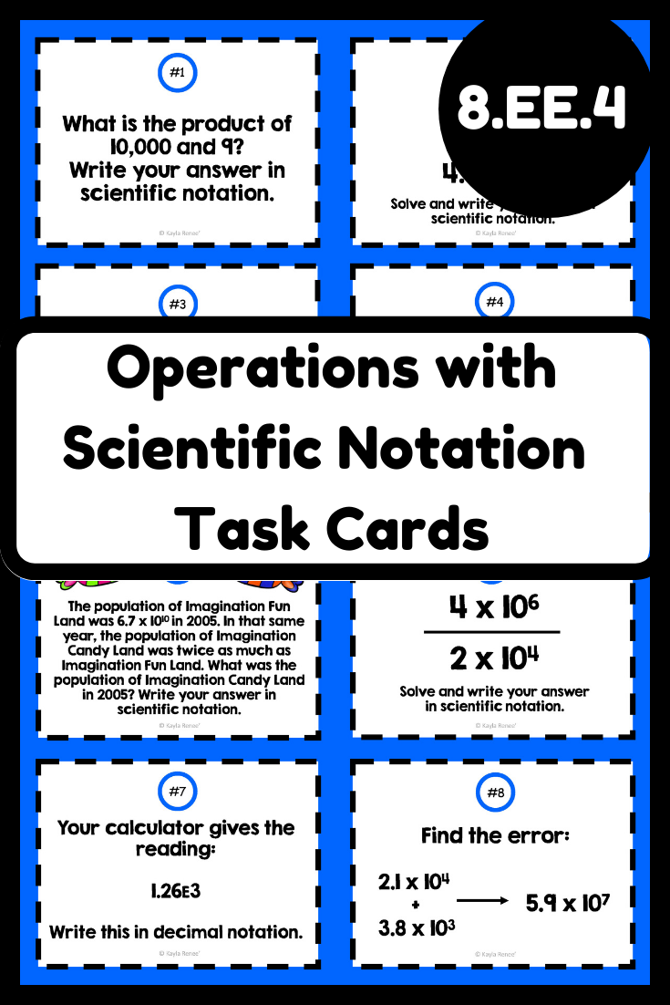 Operations With Scientific Notation Task Cards 8 Ee 4 Scientific Notation Scientific Notation Word Problems Scientific Notation Operations [ 1102 x 735 Pixel ]