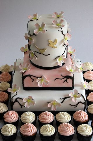 beautiful asian themed cake and cupcakes for a wedding or bridal shower