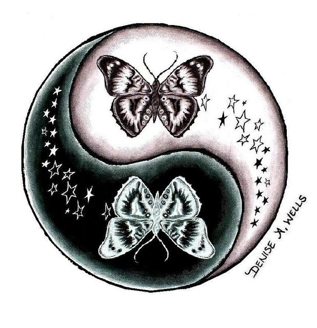 7ad456f00ac0d Butterfly and Stars Yin Yang tattoo design by Denise A. Wells by ♥Denise A