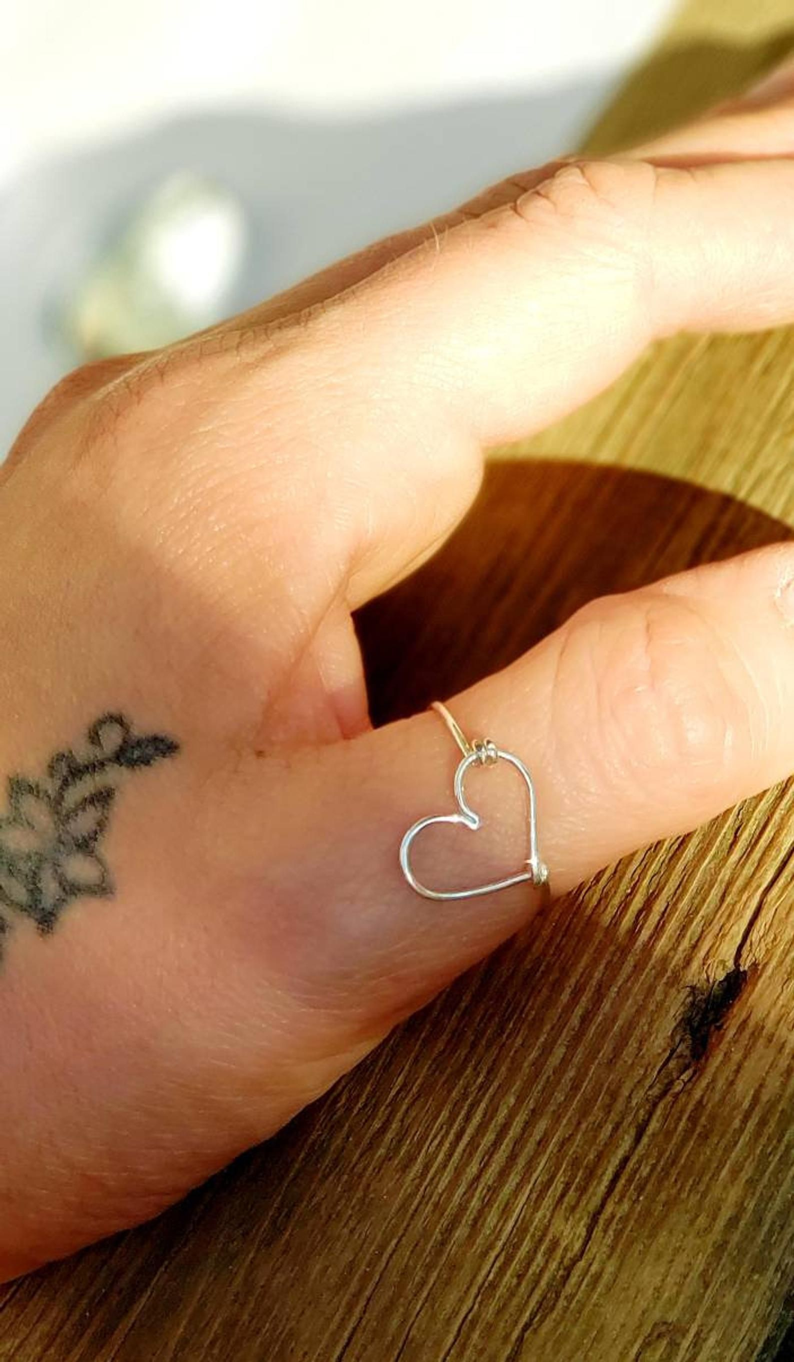 Open Heart Thumb Rings For Women Sterling Silver Jewellery  Etsy