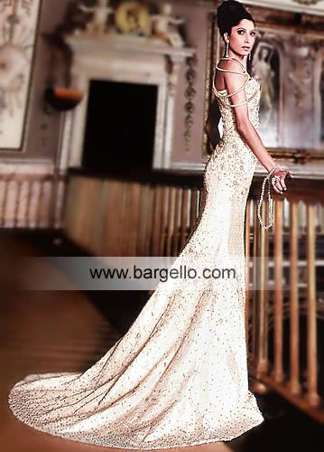 Off White English Bridal Dress With 100 Pakistani Delicate - White Indian Wedding Dress