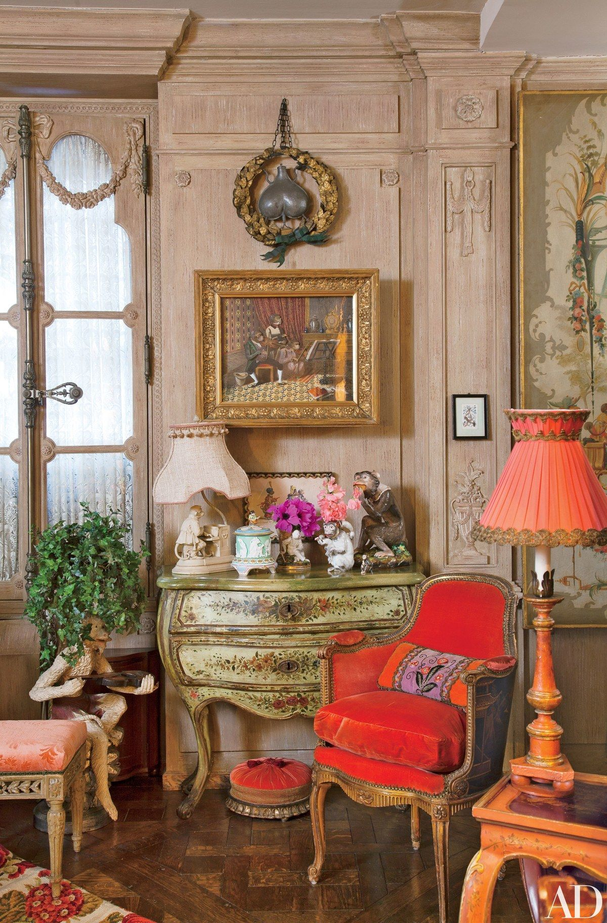 Of singerie tops an 18th century venetian bombé chest in the living room the back of the english chair at right is painted with chinoiserie designs