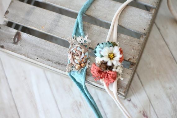 SET: fall rosette orange tan daisy teal newborn tieback flower crown headband #crownheadband