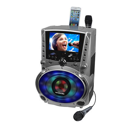 Karaoke Usa Dvd/Cd+G/Mp3+G Karaoke System With 7 Inch Tft Color Screen Record Bluetooth And Led Sync Lights, One Size , Gray