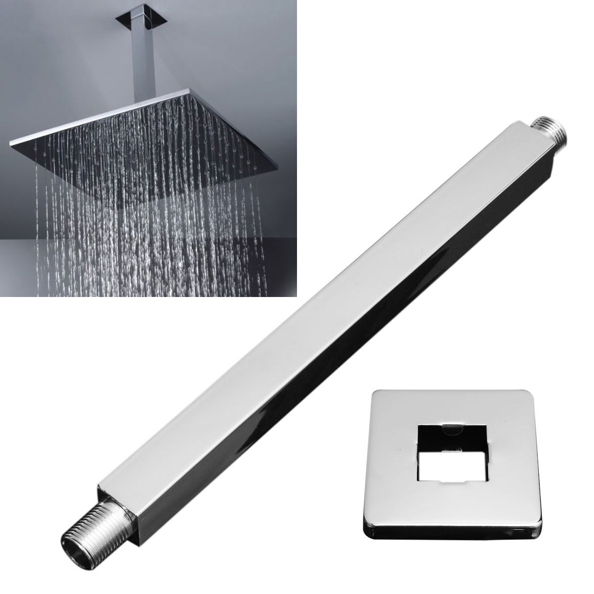 Mayitr Bathroom Square Wall Mounted Shower Extension Arm Stainless Steel  Rain Shower Head Extension Pipe 34cm