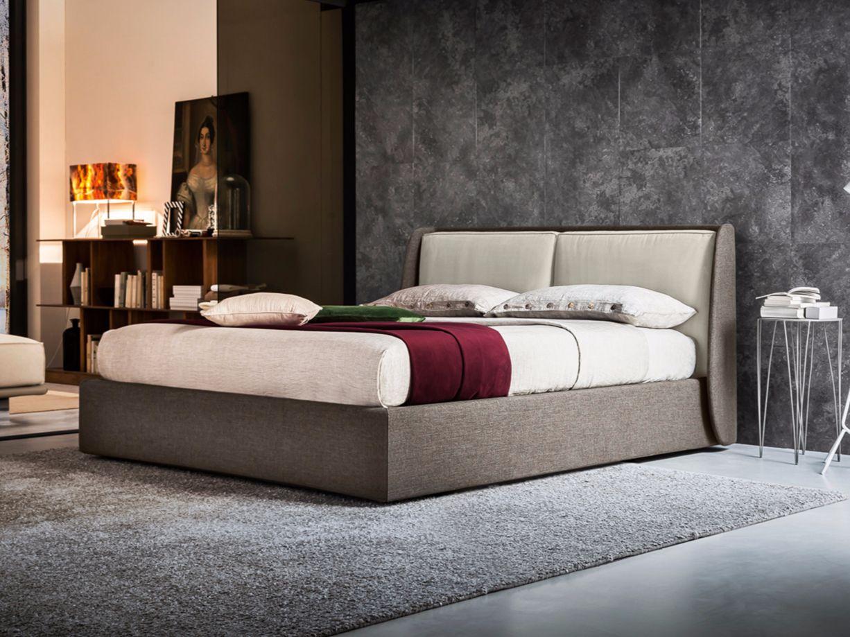 Cama doble de tela con cabecera tapizada KEVIN Colección Bed Stories ...