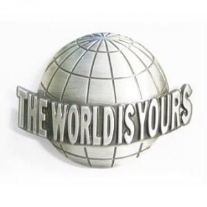 The world is yours globe belt buckle the clover pinboard for The world is yours tattoo