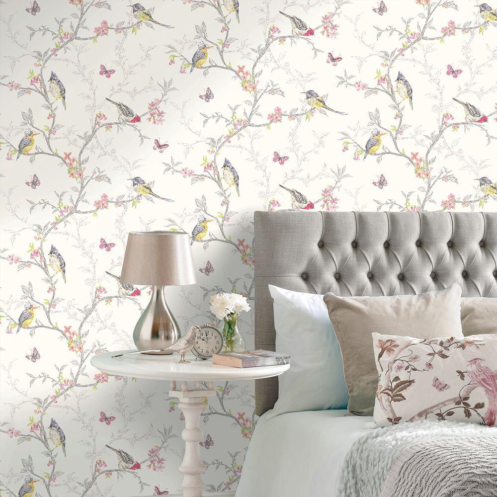 Shabby Chic Wallpaper Uk phoebe birds wallpaper white holden 98080 | chic wallpaper