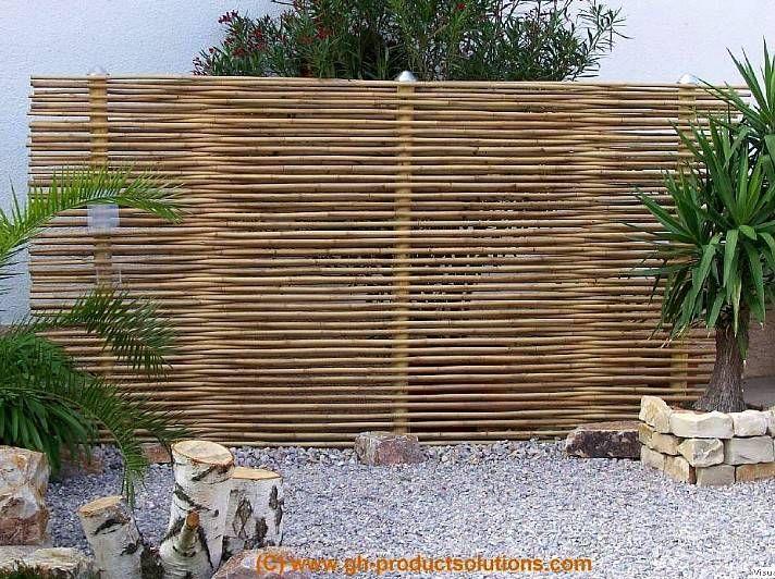 Bambus Zaunelement Zaun Sichtschutz mit Edelstahlabdeckung
