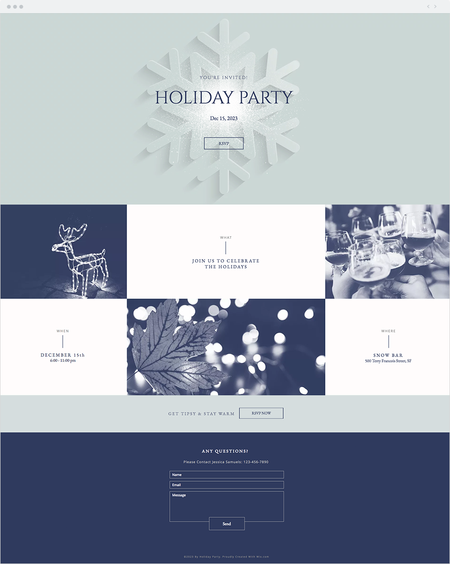 Holiday Party Invitation  Website Template  Holiday graphics