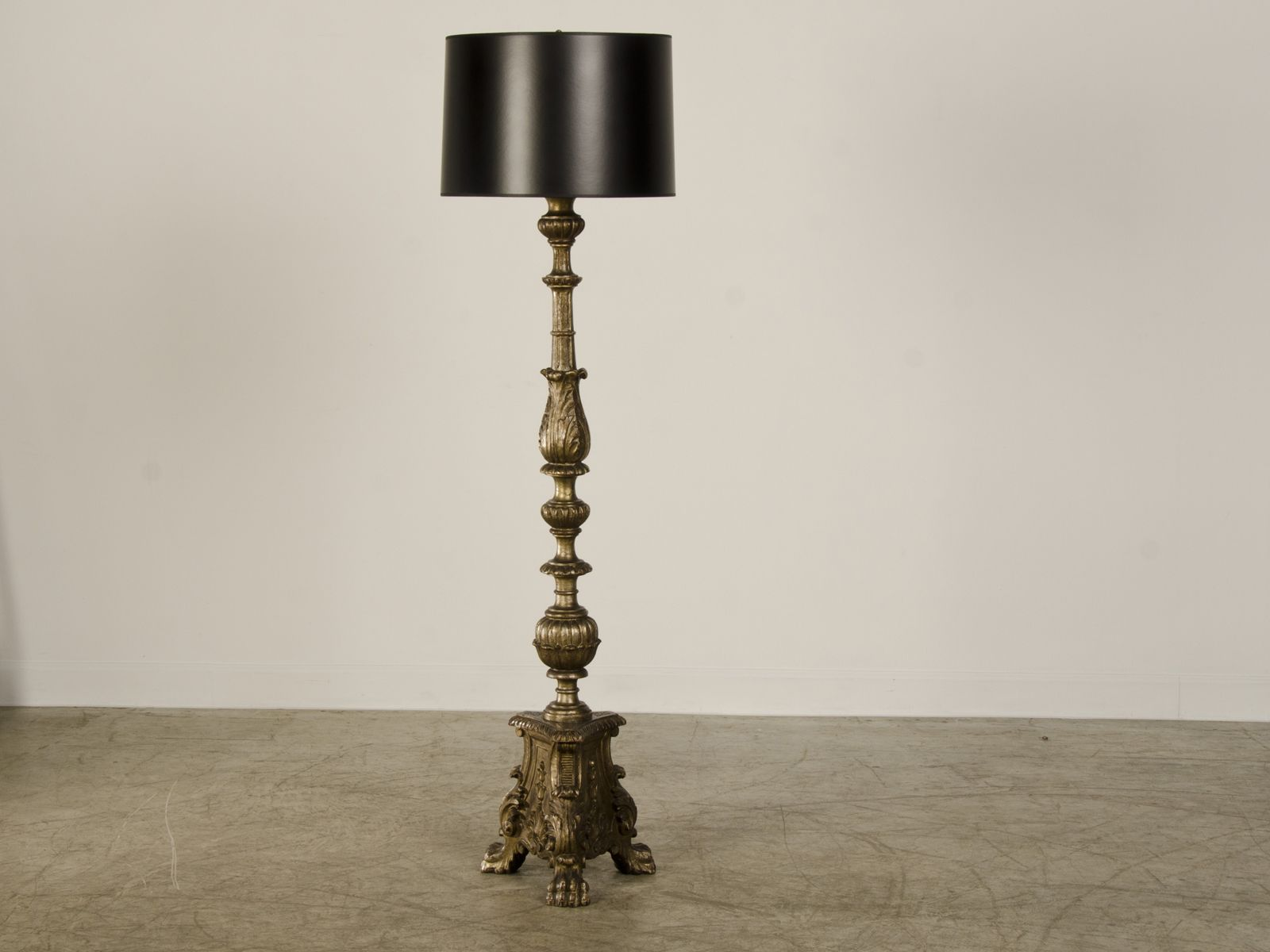 Elegant A Handsome Silver Leaf Baroque Style Carved Wooden Candle Stand From Italy  Now Wired As A Floor Lamp.