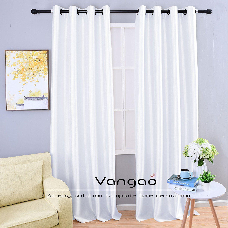 Vangao White Faux Silk Window Curtains 2 Grommet Panels 54 Wx95 L