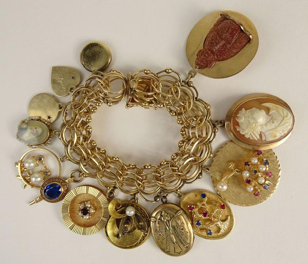 Vintage 14 Karat Yellow Gold Charm Bracelet Gold Charm Bracelet Fine Gold Jewelry Vintage Charm Bracelet