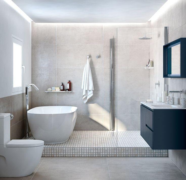 bao en tonos claros zona de ducha y zona de baera - Baos Con Ducha Y Baera