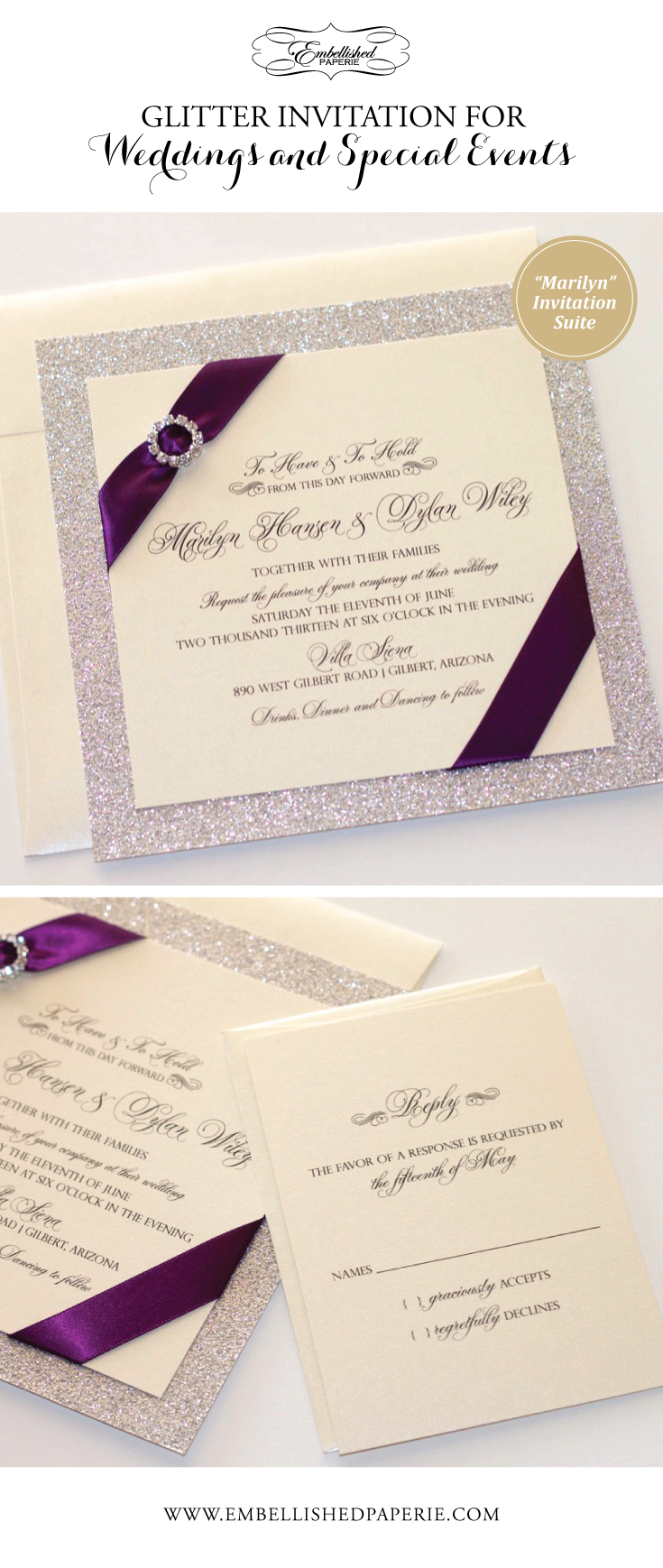 Glitter Wedding Invitation - Elegant Wedding Invitation - Romantic ...