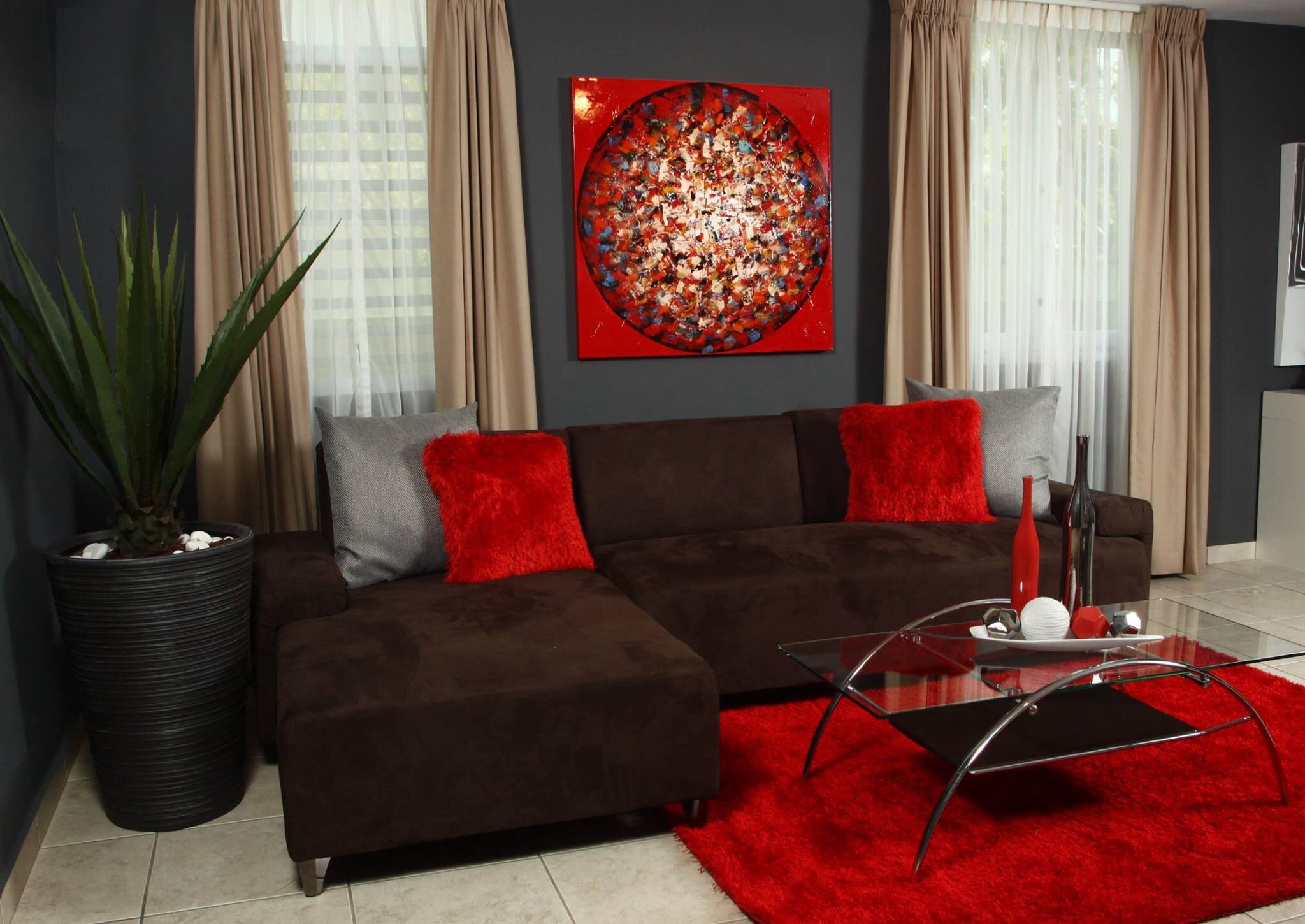 Red And Brown Interior Decoration For Living Room