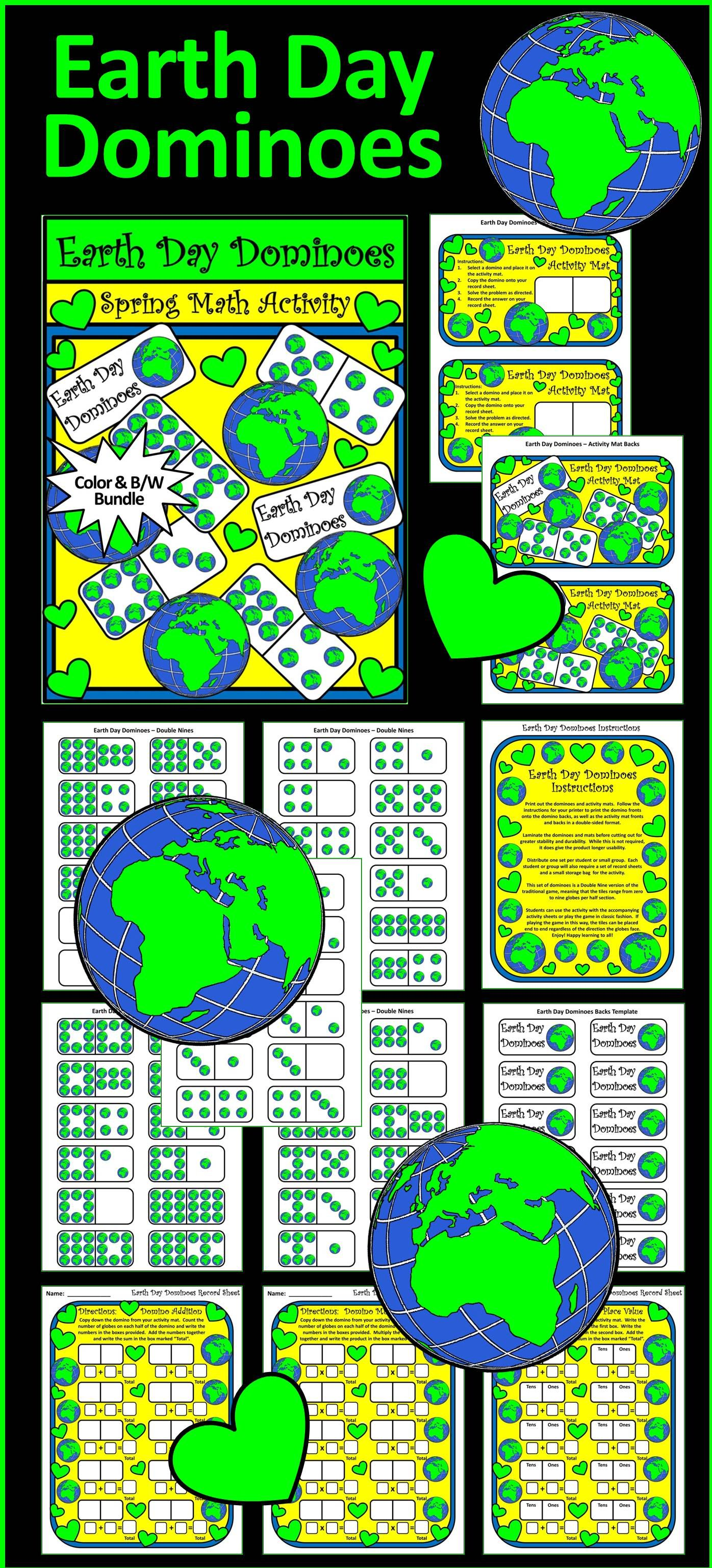 Earth Day Activities Earth Day Dominoes Spring Math Activity Packet Bundle