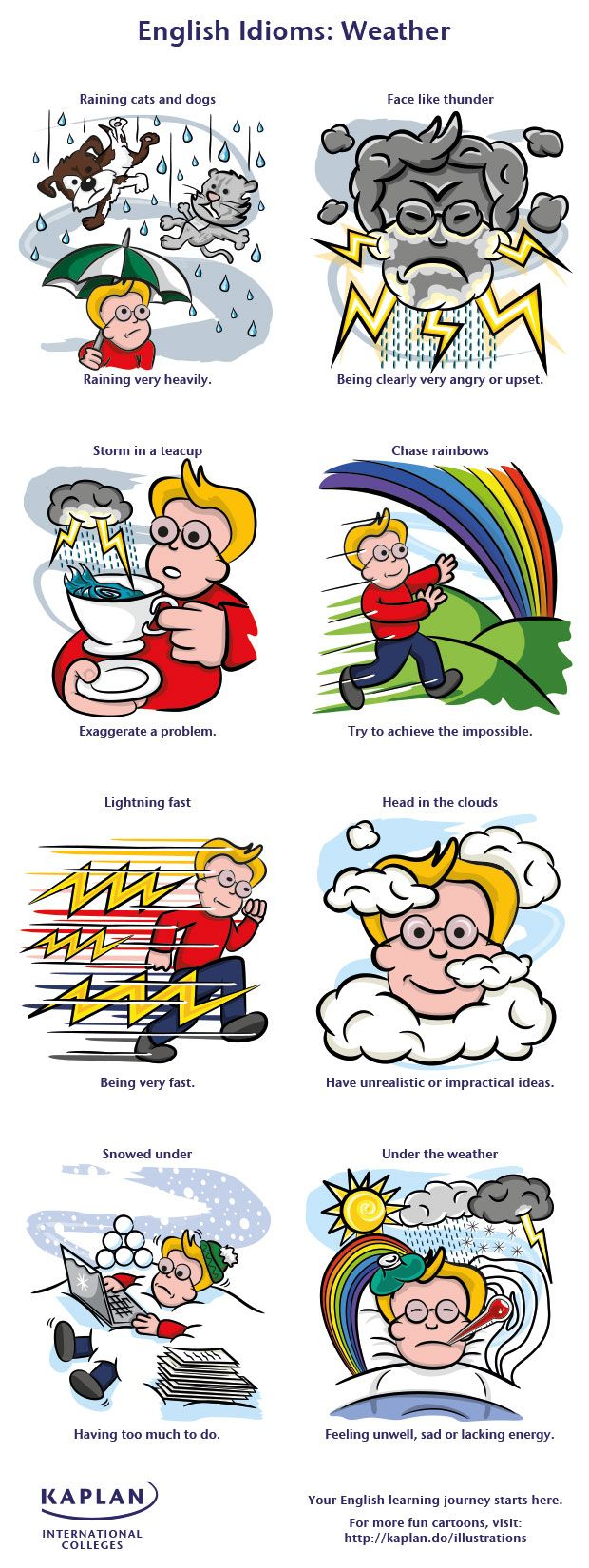 weather related idioms and phrases english lessons discover how to use weather idioms our fun illustration learn to speak english like a native kaplan international