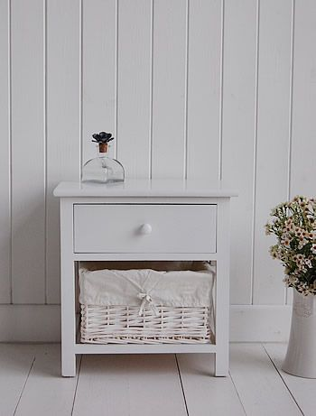 Bon Small White Bedside Cabinet   Two Drawer White Bedside Table
