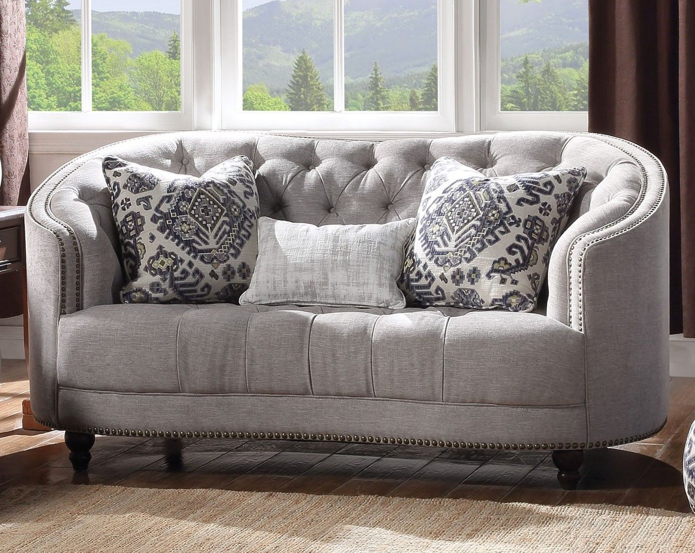 Julia Curved Light Gray Curved Tufted Loveseat With Plush Feather