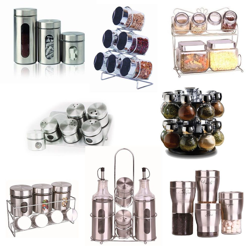 Kitchen Storage Jars Dry Food Herb Spice Rack Masala Dabba Canister Tea  Coffee