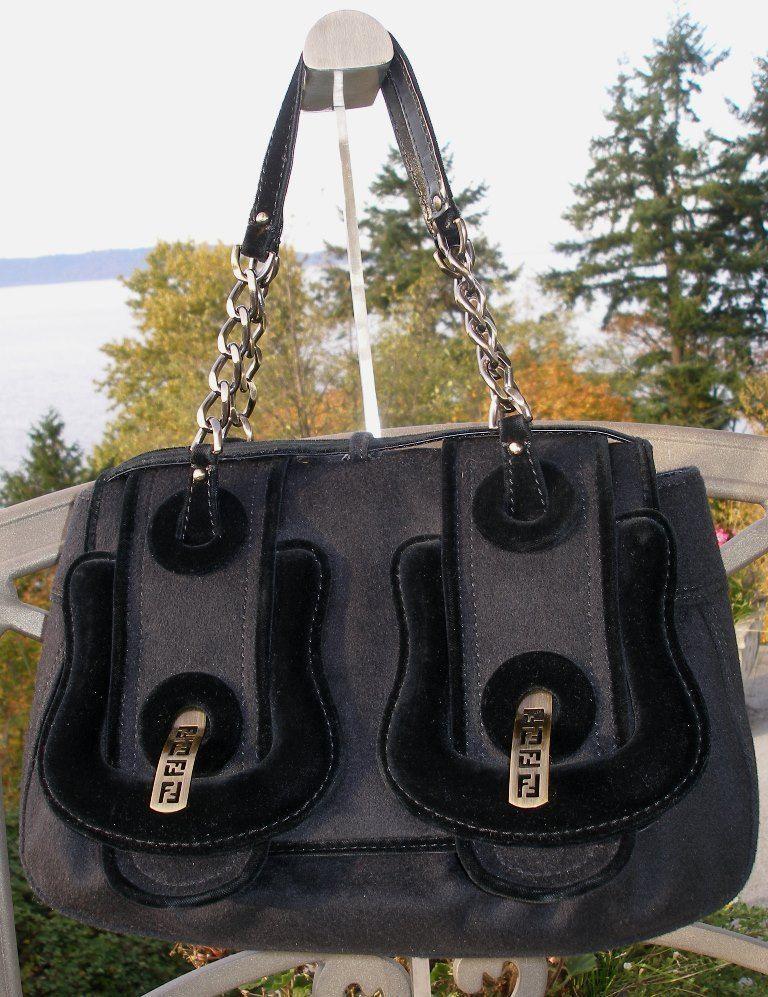 Authentic FENDI Black Cashmere  amp  Velvet B Buckle Bag -- EUC !  1850 RTL bfd0740431