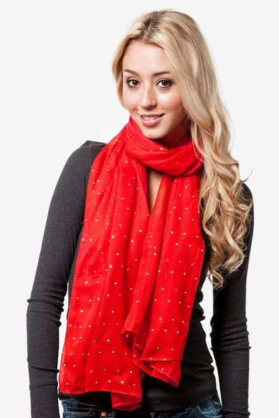 A red scarf for christmas day! Scarves.com Red Polyester Marilyn Sparkle Scarf
