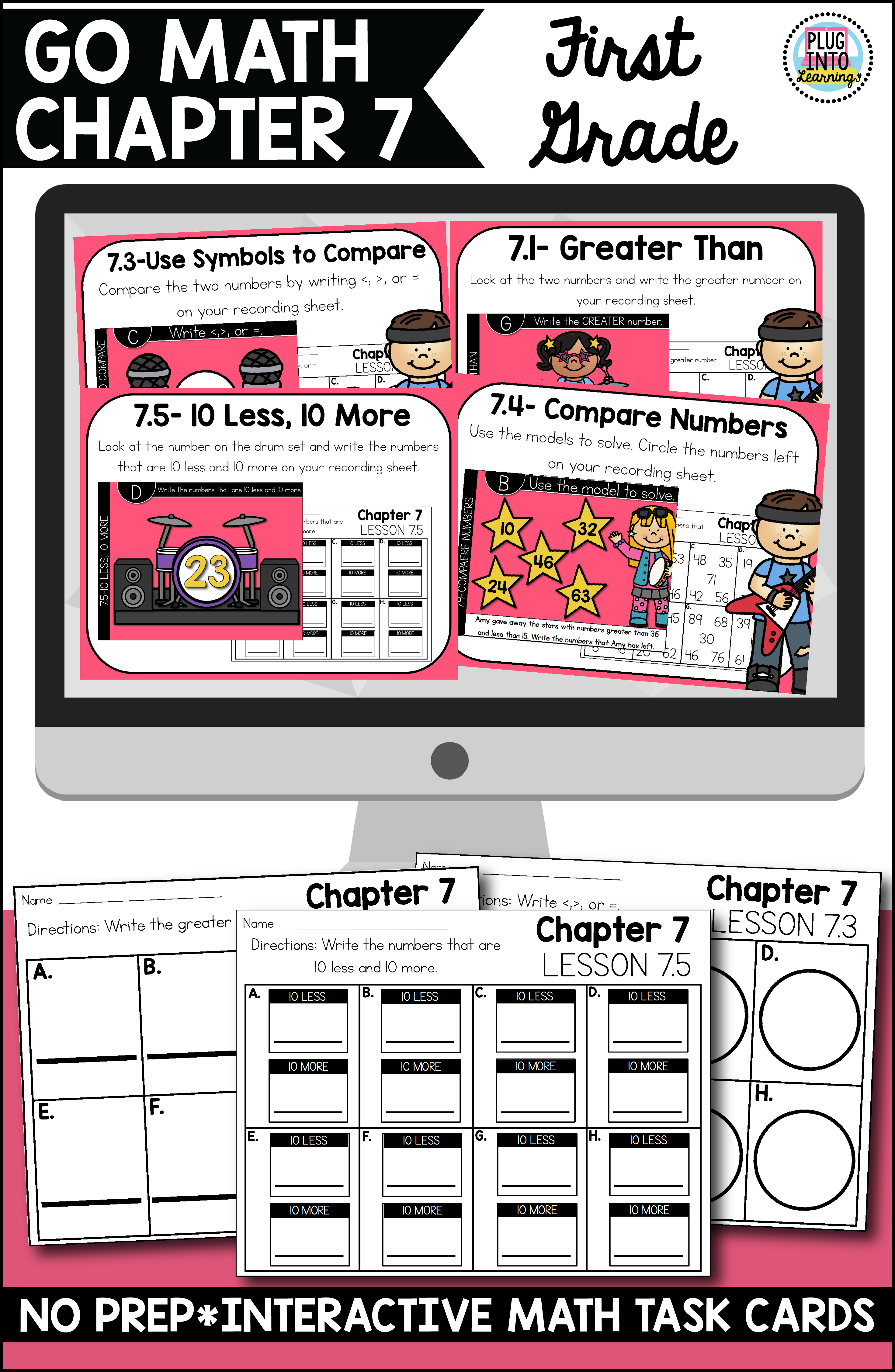Go Math First Grade Digital Task Cards Compare Numbers