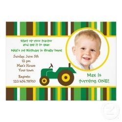 John Deere Or Tractor Birthday Invitations Love The Green Yellow And Brown Combo Perfect For Toddlers Boys