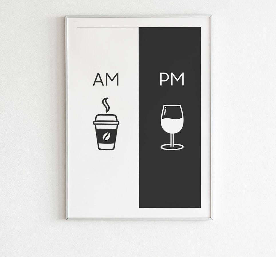 Photo of Am Pm, druckbare Kunst, Küche Plakat, Kaffee & Wein Dekor, Wohnkultur, Wandkunst, Am Pm Zeichen, Wein Zeichen, Kaffee-Zeichen, digitaler Download