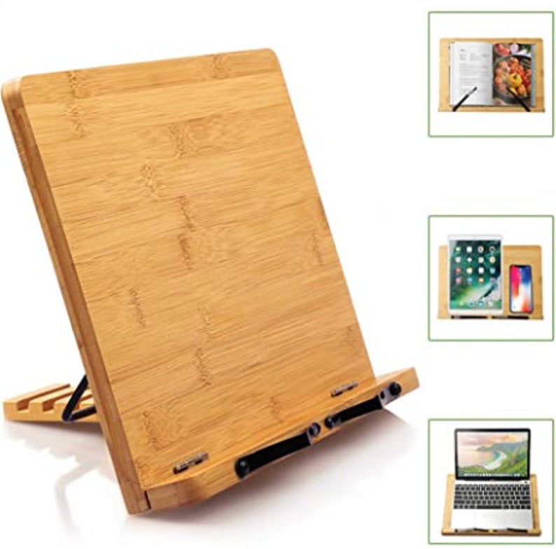 Bamboo Book Stand Cookbook Holder Desk Reading With 5 Etsy In 2020 Cookbook Holder Book Stands Book Holder Stand