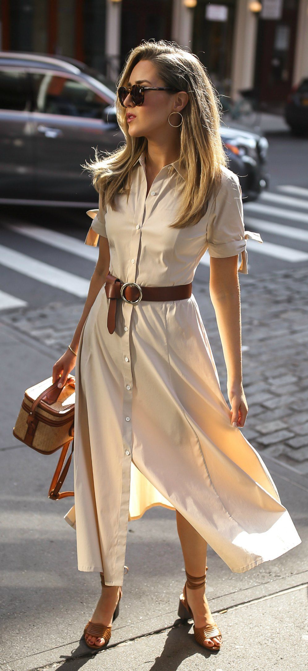 30 Dresses In 30 Days Day 18 Casual Friday Khaki Short Sleeve Button Down Midi Dress Brown Waist Belt Summer Work Outfits Fashion Brown Sandals Outfit [ 2165 x 996 Pixel ]