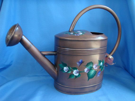 Hand Painted Large Metal Watering Can with by bunnyhutchdesigns, $65.00