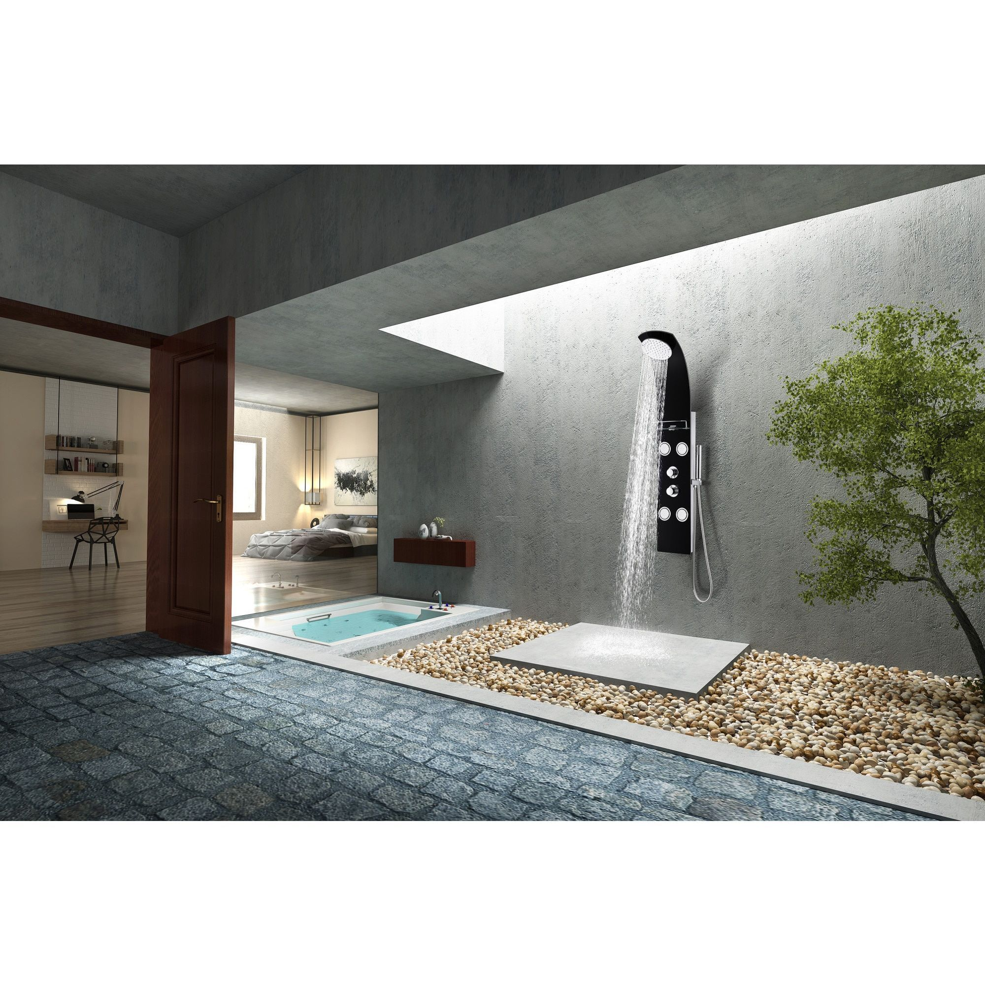 Full Body Shower Panel System With Heavy Rain Shower And