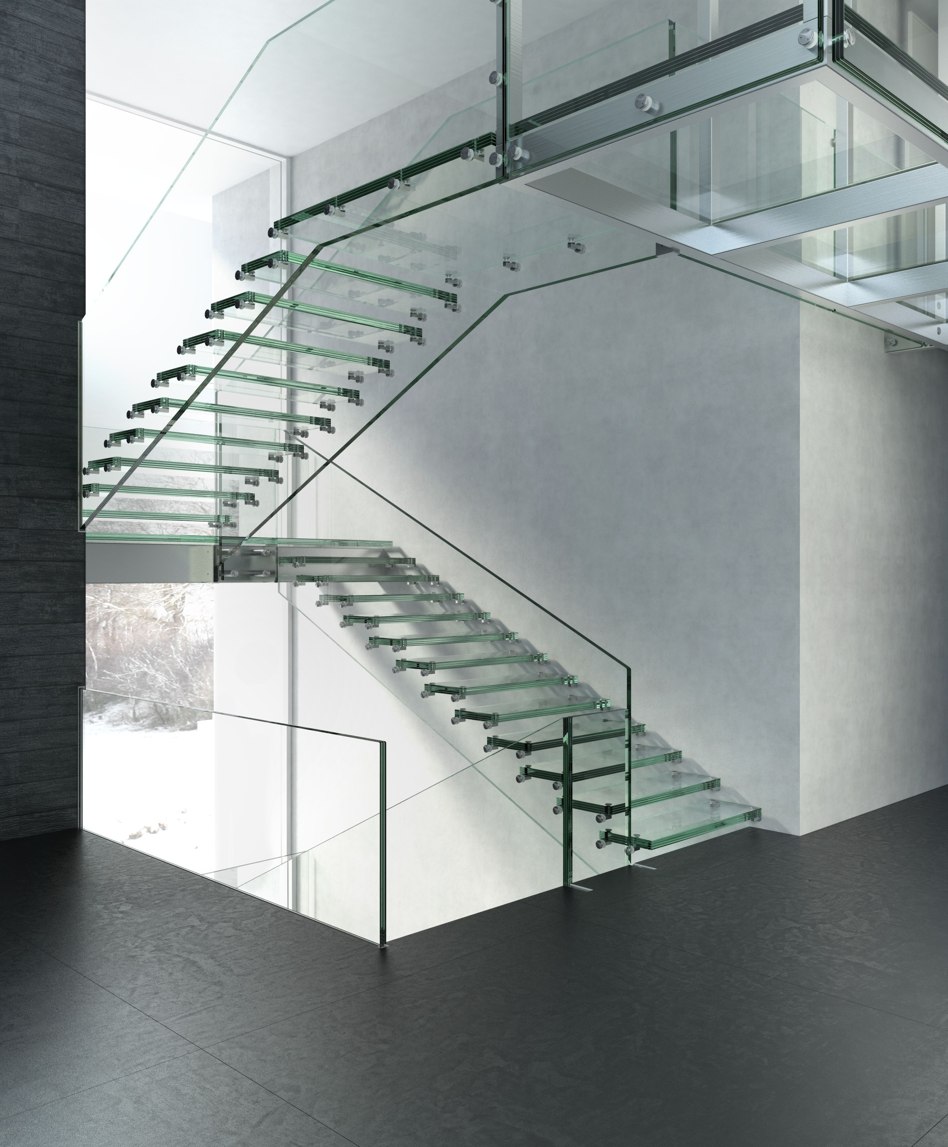 All Glass Stair With Floating Glass Walkway At Big Sky, Montana, USA Www.