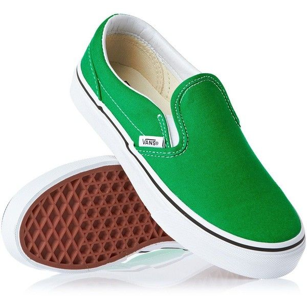 72e71e882a6f2a Vans Classic Slip On Shoes Bright Green True White ❤ liked on Polyvore  featuring shoes