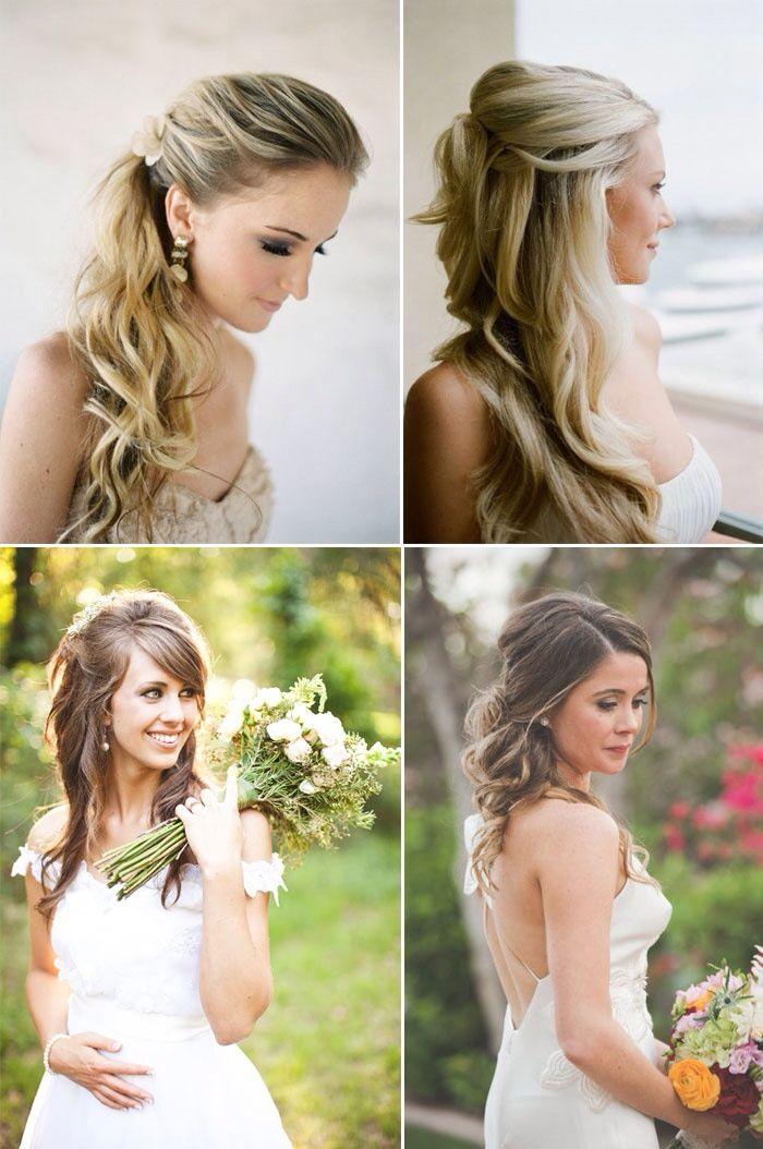 Wedding Hair Inspiration Wavy Curls Beach Waves Rustic Romantic Style Wedding Hairstyles Wedding Hair Half Hair Styles