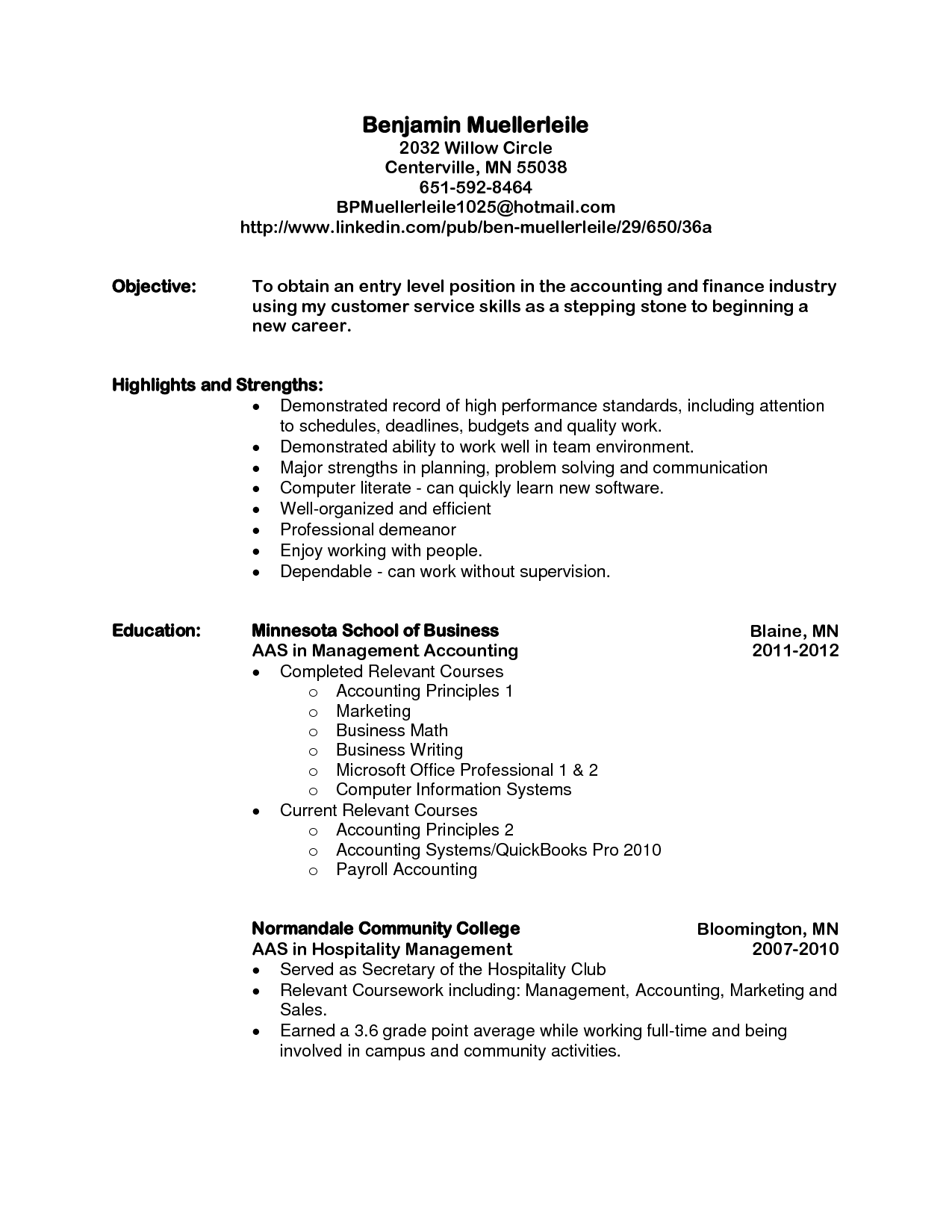 Sample Objective For Resume Entry Level Format Beginner Template
