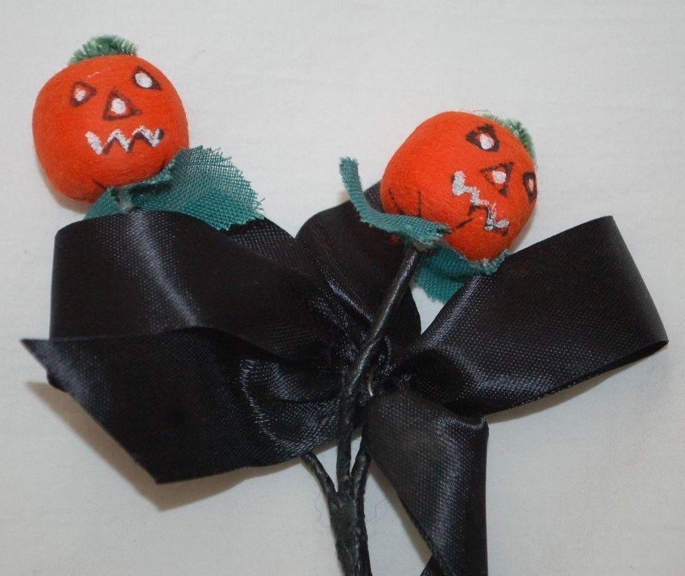 Vintage Halloween Spun Cotton Jol Jack O Lantern Black Ribbon Corsage Japan Vintage Halloween Christmas Ornaments Jack O Lantern
